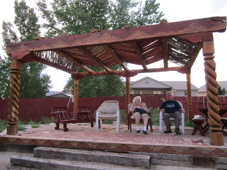 Spiral Pergola with rosette corbel carving